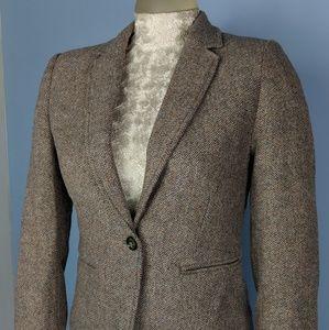 H&M Blazer Tweed Blazer Tan Beige Schoolboy jacket